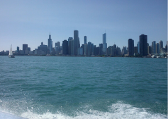 The city skyline from a tour boat on the lake.