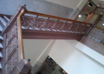 The ornate staircase to the Genealogy library on the second floor.