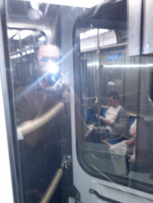Here's a phantom shot of me and a reflection of passengers behind me.
