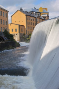 Waterfall in front of the old industrial area